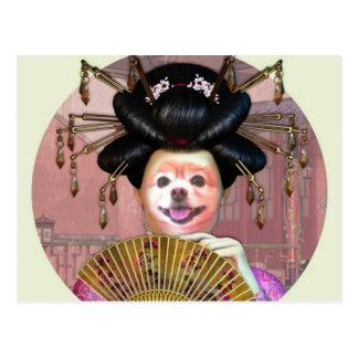 Carte Postale Le Fox est un geisha avec une fan