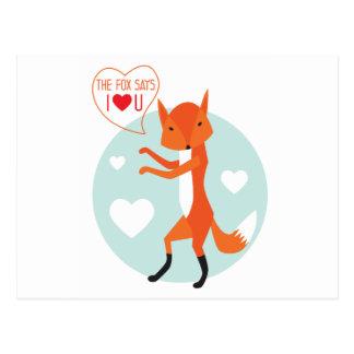 Carte Postale le Fox indique je t'aime !