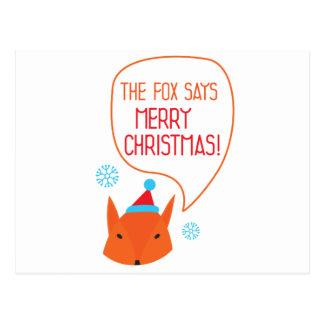 Carte Postale Le Fox indique le Joyeux Noël !