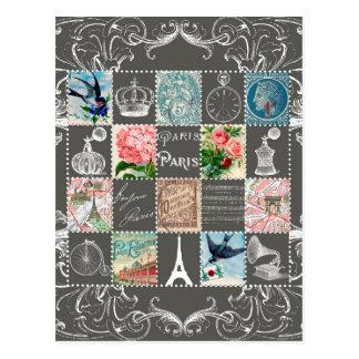Carte Postale Le Français vintage emboutit Tour Eiffel Paris de