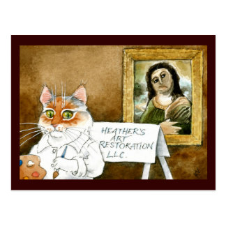 Carte Postale Le fresque espagnol de restauration d'art de chat