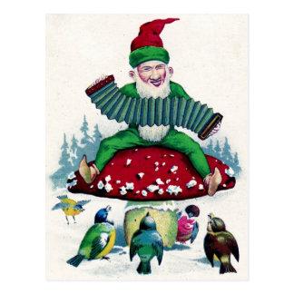 Carte Postale Le gnome et les oiseaux chantent et célèbrent