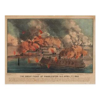 Carte Postale Le grand combat à la guerre civile de Charleston