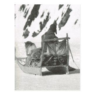 Carte Postale Le Groenland vintage, voyageant en traîneau