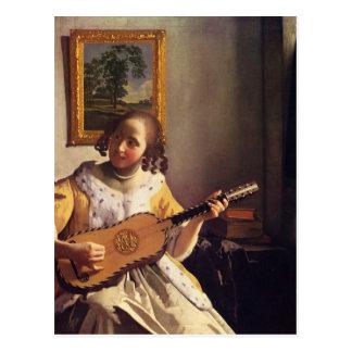 Carte Postale Le joueur de guitare par Johannes Vermeer