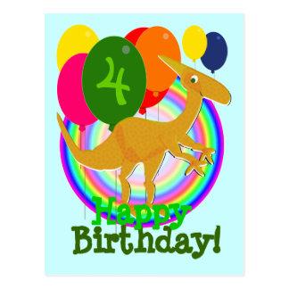 Carte Postale Le joyeux anniversaire de dinosaure monte en