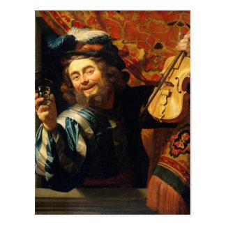 Carte Postale Le joyeux violoneur - motif vintage - Honthorst