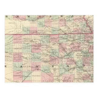 Carte Postale Le Kansas et le Nébraska