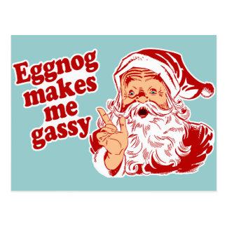 Carte Postale Le lait de poule rend Père Noël flatulent