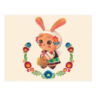 Carte Postale Le lapin de polonais de fleur
