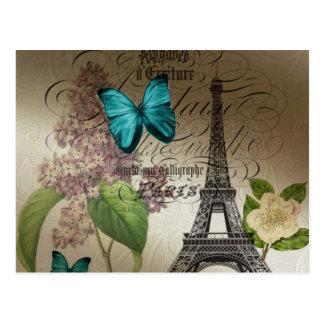 Carte Postale le lilas scripts Tour Eiffel vintage moderne de