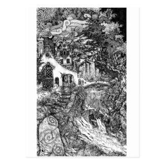 Carte Postale Le logement ; illustration à l'encre