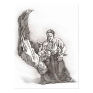 Carte Postale Le maître d'un aikido - utilisation de l'énergie
