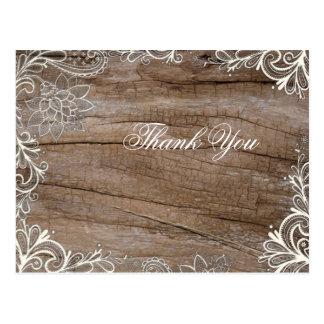 Carte Postale le mariage campagnard en bois de dentelle de