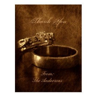 Carte Postale le mariage rustique vintage d'anneaux de mariage