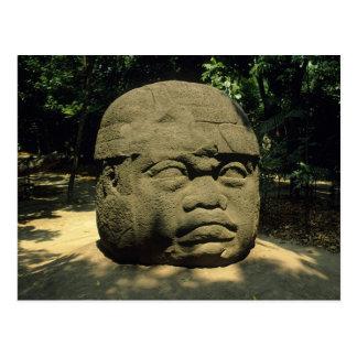 Carte Postale Le Mexique, Villahermosa, tête géante d'Olmec, La