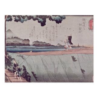Carte Postale Le mont Fuji du remblai de rivière de Sumida