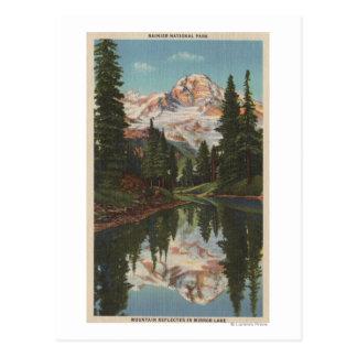 Carte Postale Le mont Rainier, WA - lac mirror avec la réflexion