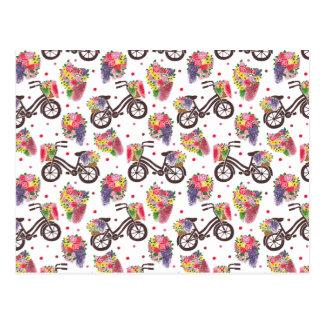 Carte Postale Le motif vintage de vélo de fleurs