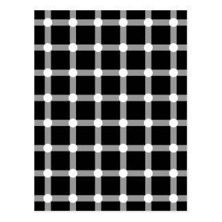 Carte Postale Le noir pointille la grille blanche de carrés de