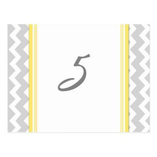 Carte Postale Le nombre de Tableau de mariage carde Chevron gris