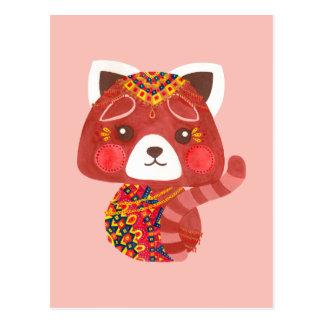 Carte Postale Le panda rouge mignon