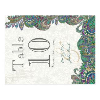 Carte Postale Le paon colore le nombre de Tableau de mariage de