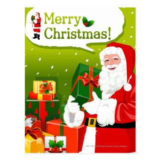 Carte Postale Le père noël avec des cadeaux
