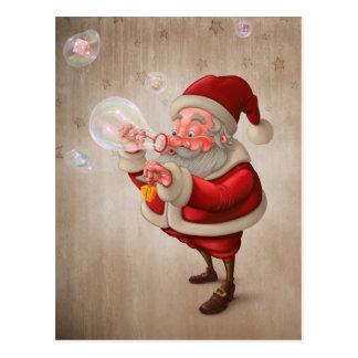 Carte Postale Le père noël et le savon de bulles