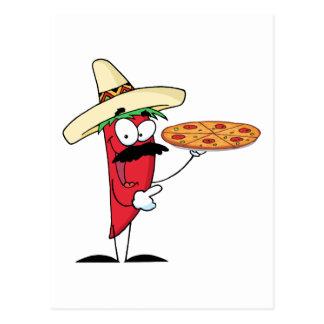 Carte Postale Le poivre du Chili de sombrero supportent la pizza