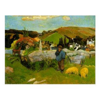 Carte Postale Le porcher, la Bretagne par Paul Gauguin