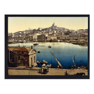 Carte Postale Le port, cru Photochrom de Marseille, France