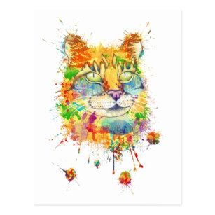 Carte Postale Le portrait coloré de chat - watercolor.