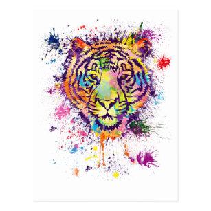 Carte Postale Le portrait coloré de tigre - watercolor.