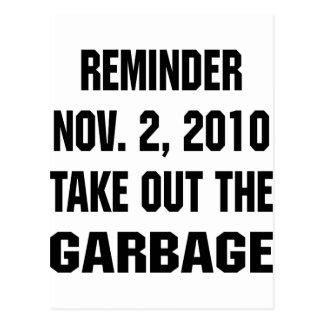 Carte Postale Le rappel sortent le 2 novembre 2010 les déchets