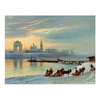 Carte Postale Le remblai d'Angara à Irkoutsk, 1886