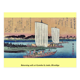 Carte Postale Le renvoi navigue chez Gyotoku par Ando, Hiroshige
