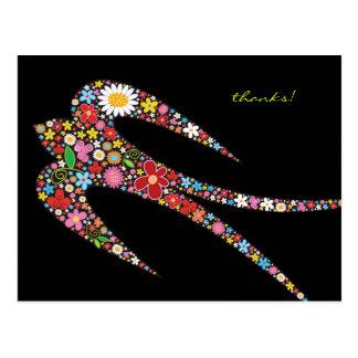 Carte Postale Le ressort d'hirondelle fleurit le Merci/carte