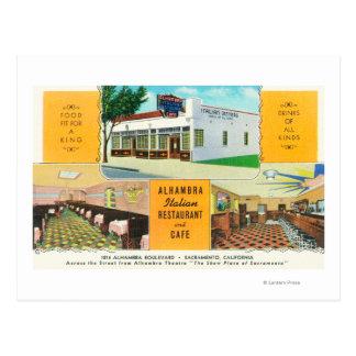 Carte Postale Le restaurant et le Caf� italiens d'Alhambra