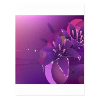 Carte Postale Le résumé fleurit Lillies pourpre