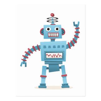 Carte Postale Le rétro androïde mignon de robot badine la bande