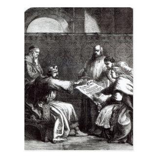 Carte Postale Le Roi John refusant de signer la charte de Magna