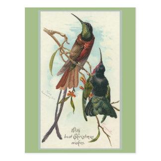 Carte Postale Le Roi vintage Humming Birds de Noël