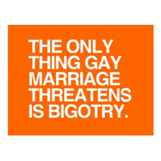 CARTE POSTALE LE SEUL MARIAGE HOMOSEXUEL THREATENS DE CHOSE EST