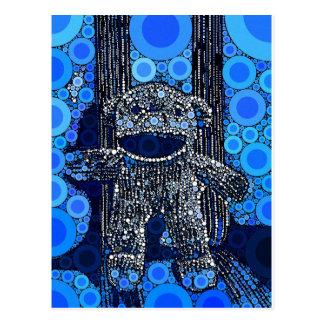 Carte Postale Le singe bleu génial de chaussette entoure l'art