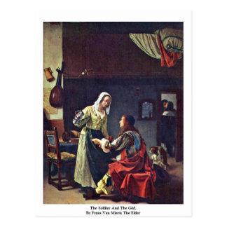 Carte Postale Le soldat et la fille