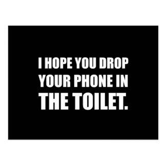 Carte Postale Le téléphone tombe dans la toilette