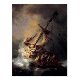 Carte Postale Le-Tempête-sur-le-Mer-de-Galilée-par-Rembrandt