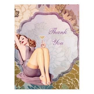 Carte Postale le thé nuptiale de douche de rétro fille vous