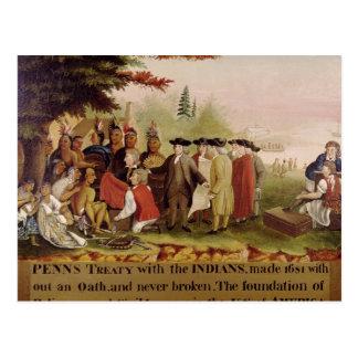 Carte Postale Le Traité de Penn avec les Indiens en 1682, c.1840